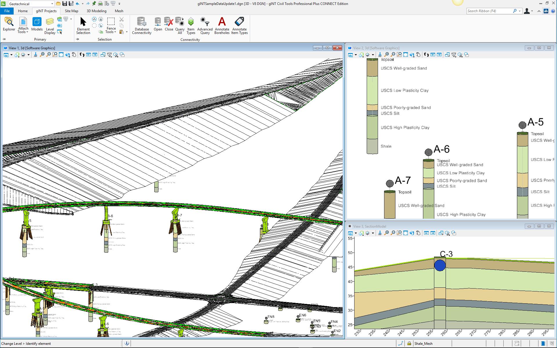 Trabalhe com dados geotécnicos de subsuperfície em 3D